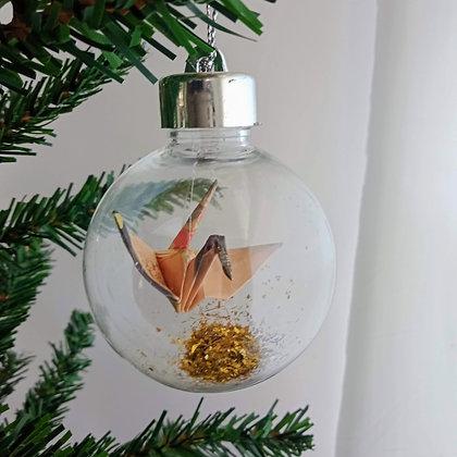 Christmas Ornament Paper Crane Bauble - Apricot oriental floral (w gold glitter)
