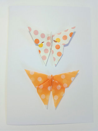 card- two vertical orange polka dot print butterflies