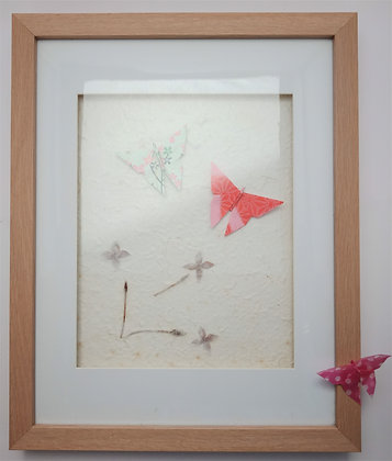 Pink Theme Butterflies on Flower Paper