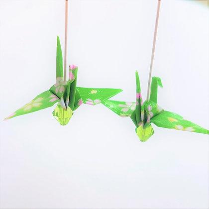Mini crane - silver 4.5cm dangle -green floral pattern with green bead