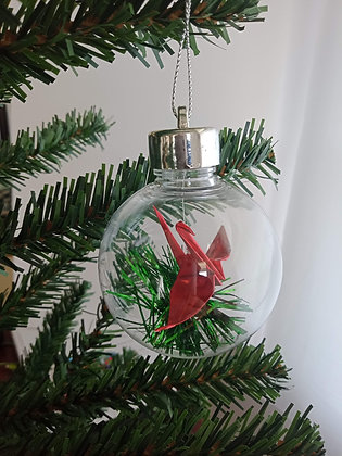 Christmas Ornament Paper Crane Bauble - metallic red (shown with green tinsel)