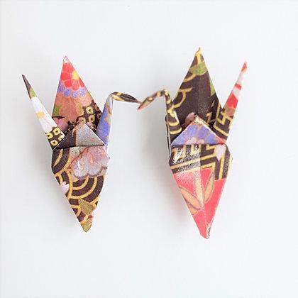 Mini Crane stud earrings - black&gold oriental stripe with multicolour accents