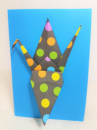 A Pop of Colour #6. Black polka dot Paper Crane on textured blue cardstock