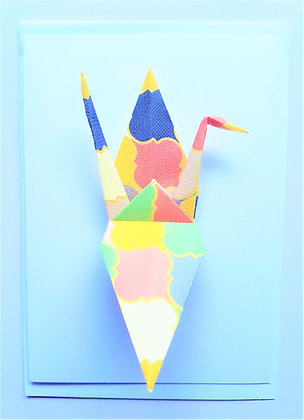 A Pop of Colour #3 Geometric Multicolour Crane on plain white card