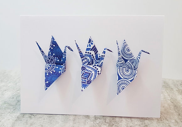 The Blues #6 - Three Paper Cranes on white card
