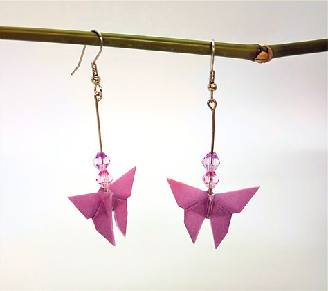 Mini Butterfly. silver 6cm dangle earrings - purple Bf with pink & purple beads