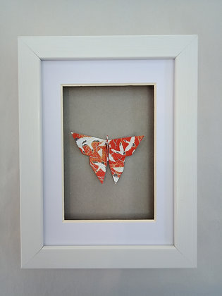 Red and White Butterfly with 'Good Luck' cranes print - Small