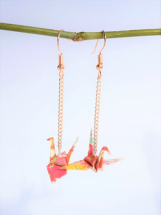 Mini crane - rose gold chain link 6cm dangle - pink, mustard & gold print