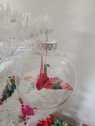 Christmas Ornament Paper Crane Bauble - red & black oriental floral crane