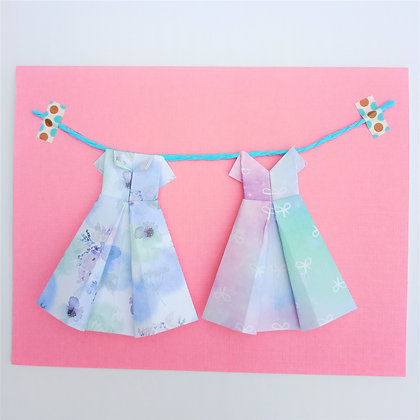 Two little dresses - purple on pink