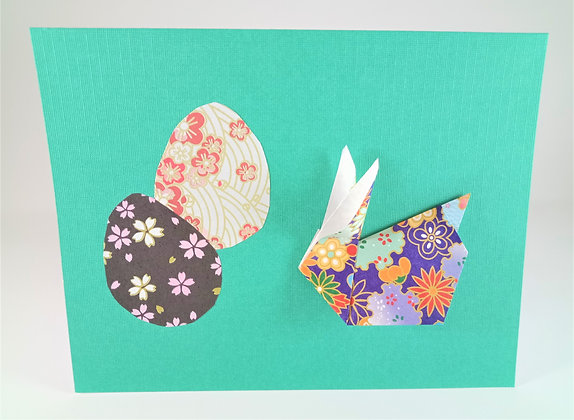 Easter theme card -  One bunny, two eggs, on turquoise