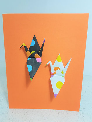 A Pop of Colour #7. (orange) Twin Paper Cranes on textured orange cardsto