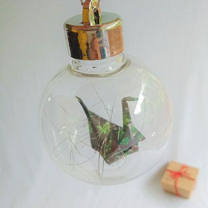 Christmas bauble.  Paper crane (Dark green. Xmas tree print)