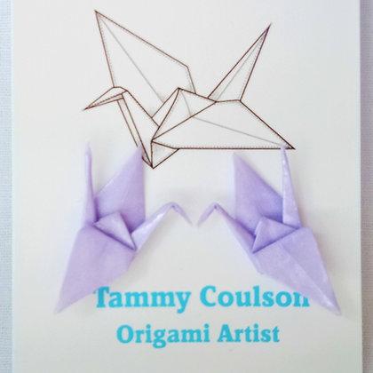 Mini Crane - stud earrings - lilac