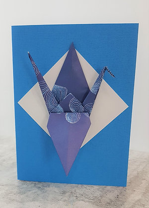 The Blues #5 - Paper Crane on solid blue card