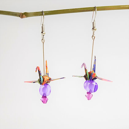 Mini crane. silver 6cm drop dangle. purple floral print with pink & prpl bead