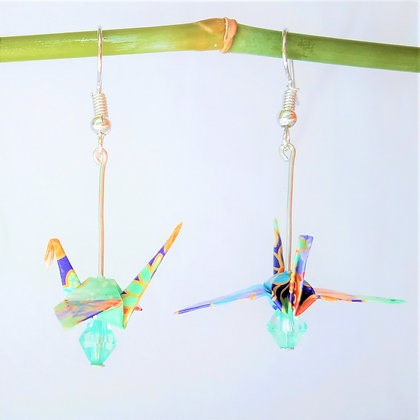 Mini crane - silver 4.5cm dangle -purple floral pattern with aqua bead