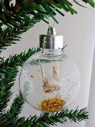 Christmas Ornament Paper Crane Bauble - gold Xmas print (shown w gold glitter)