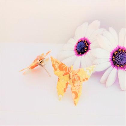Butterfly stud earrings - orange, yellow & gold floral print