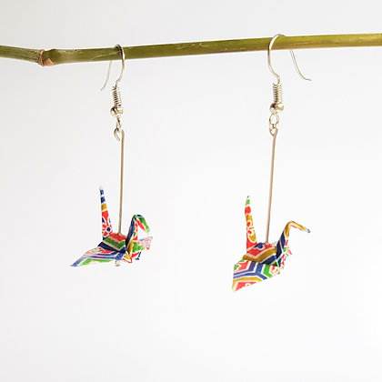 Mini crane - 5cm dangle multicolour geometric print
