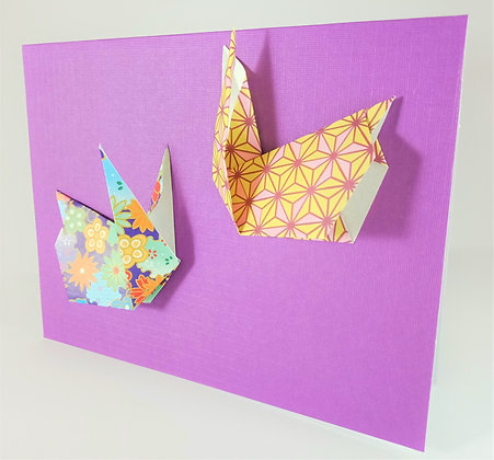 Easter theme card -  two bunnies on purple