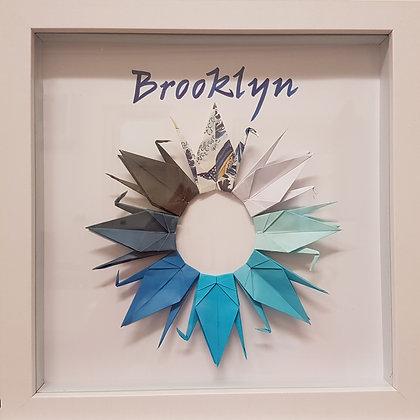 Paper Crane Name Frame - Blue hues