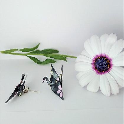 Mini Crane - stud earrings - black and pink floral print