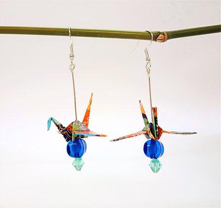 Mini Crane - silver 5cm dangle - purple floral print with two blue beads