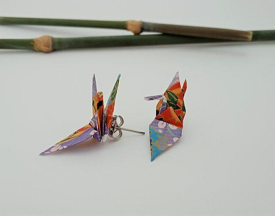 Mini Crane stud earrings - light purple floral
