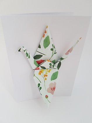 Floral crane - white background