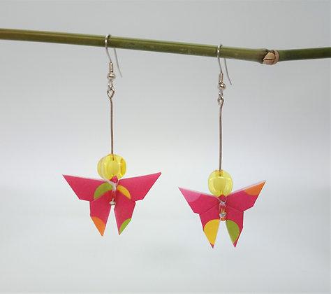 Mini Butterfly - 6cm dangle earrings - Pink Polka-dot with bead