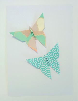 card - two offset aqua themed butterlflies