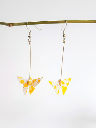 Mini Butterfly. silver 6cm dangle earrings - yellow & white floral print