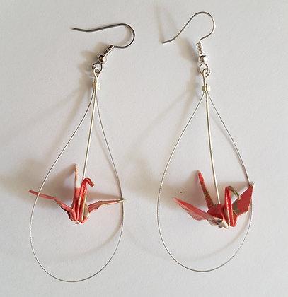 Mini Crane in loop - statement drop earrings - pink oriental print