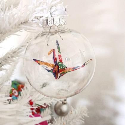 Christmas Ornament Paper Crane Bauble - multicolour geometric