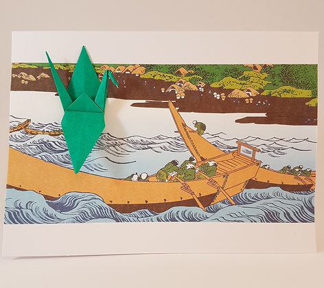 Green Crane with Boat