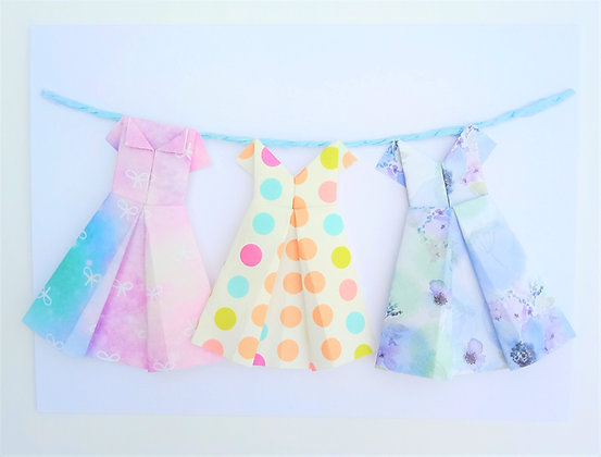 Three little dresses on a line - purple, pink and polka dot theme