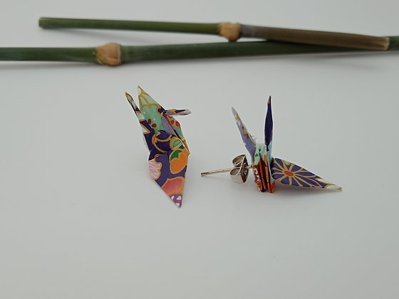 Mini Crane stud earrings - purple floral