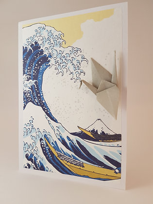 Grey Crane with Great Wave