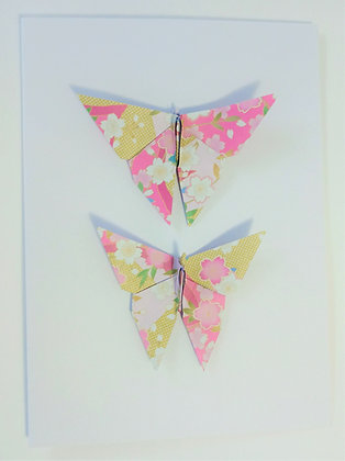 card - Twin pink floral butterflies
