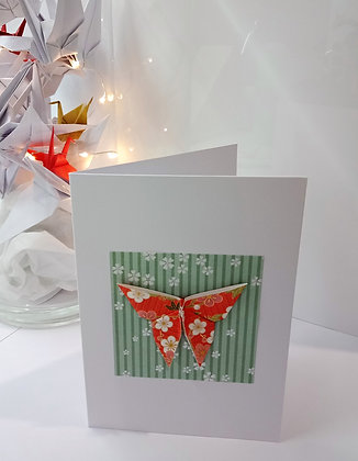 Christmas Card - floral butterfly on green floral background on white card