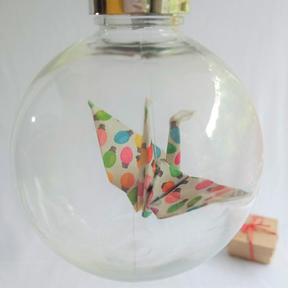 Christmas Ornament Paper Crane Bauble - multicolour festive lights