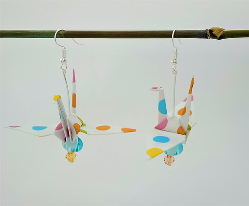 Large Crane earrings - polka-dot with two beads
