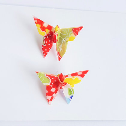 Butterfly stud earrings - red & white check with, green, ylw, blue