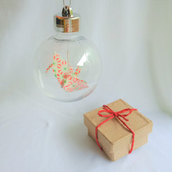 Christmas bauble.  Paper crane(red.green geometric)