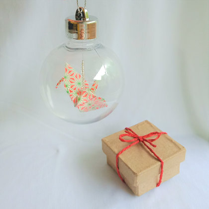 Christmas Ornament Paper Crane Bauble - geometric red.white.green
