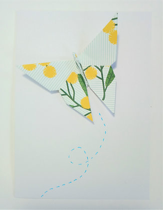 card- single large wattle print butterfly