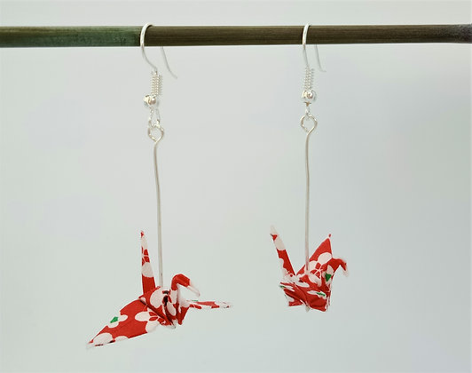 Mini Crane - silver 5cm dangle - red and white geometric-floral print