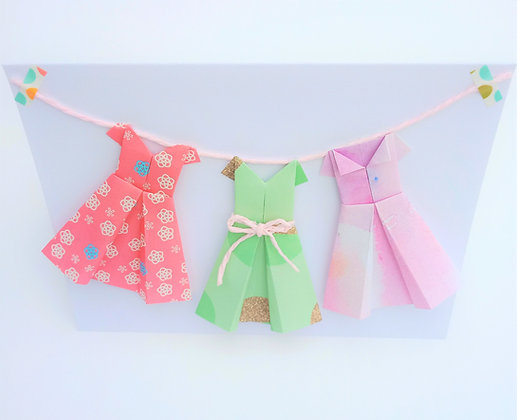 Three little dresses on a line - purple, pink and green theme