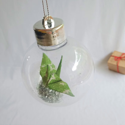 Christmas Ornament Paper Crane Bauble - Green and silver glitter star
